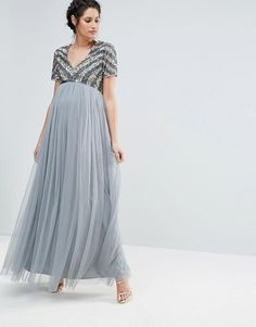 Maya Maternity V Neck Embellished Bodice Maxi Dress.  ModerskapsklänningarGraviditetAsos e743218729bfe