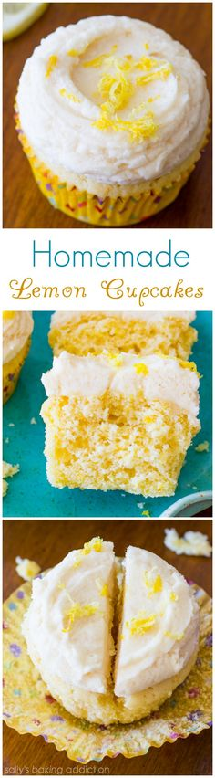 Delicious and simple Homemade Lemon Cupcakes with creamy vanilla frosting! sallysbakingaddiction.com