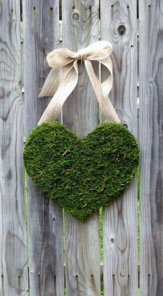 Moss covered wood heart - option, in place of wreath on door.