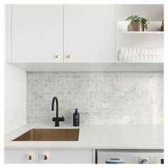Kitchen Marble Splashback Laundry Rooms New Ideas Laundry Nook, Small Laundry, Laundry In Bathroom, Laundry Storage, Kitchen Tiles, Kitchen Decor, Kitchen Sink, Kitchen Grey, Kitchen Splashback Ideas