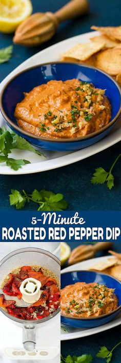5-Minute Roasted Red Pepper Dip - An easy and healthy appetizer or afternoon snack! So much flavor with just a few ingredients. 72 calories and 2 Weight Watchers SmartPoints