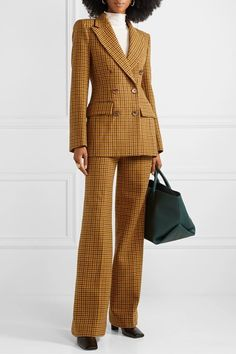 Tonal-brown wool Concealed button, hook and zip fastening at front wool Dry clean Suit Fashion, Look Fashion, Retro Fashion, Business Chic, Business Fashion, High Class Fashion, Chic Outfits, Fashion Outfits, Lawyer Fashion
