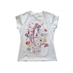 Ultimo pezzo!!!  t-shirt donna manica corta. Colore:bianco  Taglia: S  Width/Larghezza: 34 cm  Lenght/Lunghezza: 55 cm  Chest/Torace: 41 cm