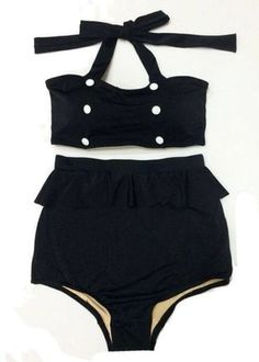 Black with Buttons Top Vintage Retro High Waisted Shorts Bottom Handmade Swimsuit Swimwear Swimsuits Swim Bathing suit suits Playsuit Moda Vintage, Vintage Tops, Look Fashion, Fashion Outfits, Fashion News, Idda Van Munster, Latest Fashion For Women, Womens Fashion, Summer Outfits