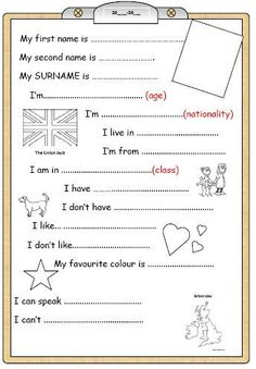 Cest plutôt simple et ce sera la base de notre premier envoi eTwinning. English Worksheets For Kids, English Resources, Education English, English Class, English Lessons, Learn English, English Teaching Materials, Teaching English, Ingles Kids