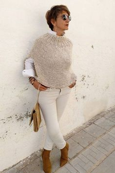 White knit poncho for women, white and grey cover dress, women& poncho, white wrap for summer, boho chic poncho Poncho Pullover, Crochet Poncho, Poncho Sweater, Knitted Poncho, Poncho Style, Ladies Poncho, Neutral Outfit, Mode Outfits, Coats For Women