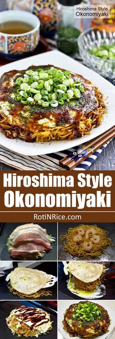 Hiroshima Style Okonomiyaki (Japanese Layered Pancakes) - the ultimate savory pancake complete with cabbage, bacon, noodles, shrimp, and egg. So yummy! | RotiNRice.com