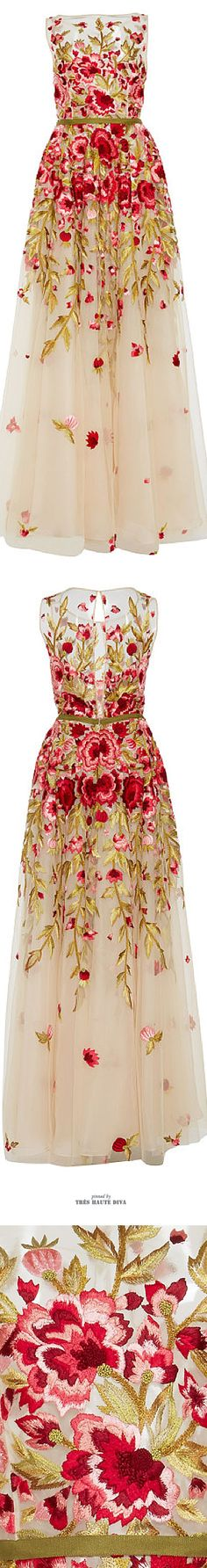 Floral Embroidered Sleeveless Gown: