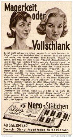 Original-Werbung/ Anzeige 1956 - NERO - STÄBCHEN GEGEN MAGERKEIT - ca. 60 x 115…