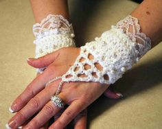 White Wedding Crochet and Lace Fingerless Gloves by suebhoney, $55.00