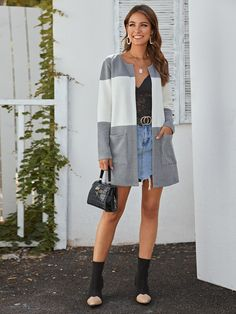 Colorblock Open Front Double Pocket Cardigan #Sponsored , #Sponsored, #Front#Open#Colorblock Classic Halloween Costumes, Spring And Fall, Color Blocking, Cardigans, Shirt Dress, Pocket, Tags, Long Sleeve, Fit