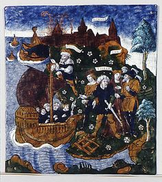 Aeneas Builds a Fleet Near Antandrus, at the Foot of Mount Ida by Master of the Aeneid, France (Limoges), painted enamel on copper, partly gilt, circa 1530-1535