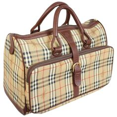 Burberry leather beige duffle luggage travel bag nova check men s 1b3a6dfd8b815