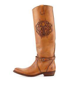 Frye Rider Logo Leather Boot, Tan