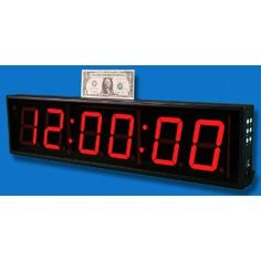 Large 6 Digit Led Wall Clock With Count Up Down Timer