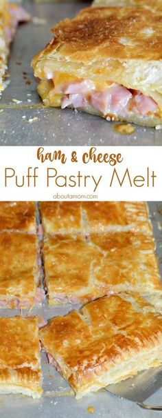 Delicious ham and cheese melted between layers of flaky puff pastry. This Ham and Cheese Puff Pastry Melt is the perfect way to use up leftover ham. Good Food, Yummy Food, Melted Cheese, Empanadas, Cooking Recipes, Kitchen Recipes, Healthy Recipes, Bariatric Recipes, Sausage Recipes