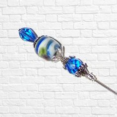Hat Pin Vintage Blue Glass Victorian Style Crystal  Edwardian