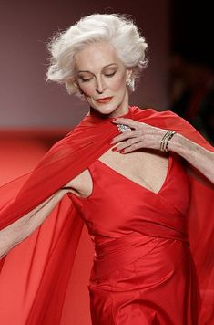 Modelling at the 'Red Dress Collection' catwalk show in aid of heart disease, during New York Fashion Week in 2005. Picture: Rex