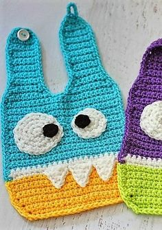 [Free Pattern] Adorable Crochet Monster Bibs You Can Make For Your Baby Right Now #crochetbaby