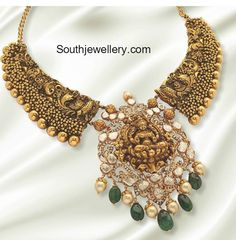 Peacock Nakshi Necklace with Lakshmi Pendant