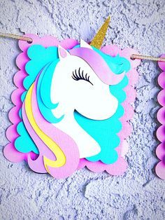 I am Two Unicorn banner Unicorn Decorations Unicorn Birthday Unicorn Birthday Parties, Birthday Party Themes, Birthday Gifts, Unicorn Birthday Decorations, Happy Birthday, Fete Emma, Unicorn Banner, Diy And Crafts, Crafts For Kids