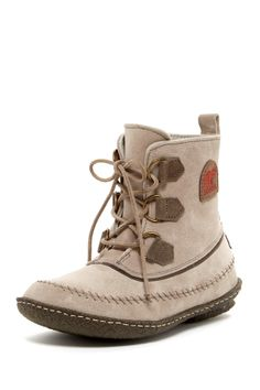 """Joplin II Boot in silver sage by Sorel $125 - $72 @HauteLook. - Round toe - Front D-ring lace-up vamp - Suede construction - Heavy topstitched detail - Back pull-tab - Approx. 5.5"""" shaft height, 11"""" opening circumference - Leather and textile upper, textile lining, rubber sole"""