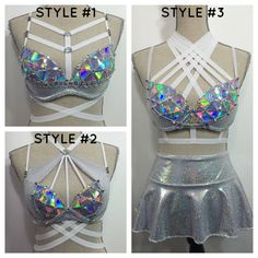 Would coordinate well with blacklight tops! :-) Light alien rave bra costume space cadet robot by bassbunnydesigns Rave Festival, Festival Looks, Festival Wear, Festival Outfits, Festival Fashion, Edm Outfits, Rave Bra, Space Costumes, Alien Costumes
