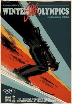 Winter (Super) Olympics: Ski Jumping feat Batman by Francesco Francavilla New 52, Red Hood, Catwoman, Dc Universe, Gotham, Supergirl, Mister Freeze, Personnage Dc Comics, Batman Et Superman