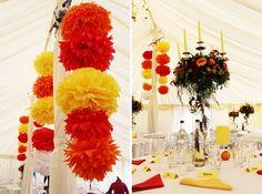 Orange Red Yellow And White Wedding Pom Poms Image By David J Perkins