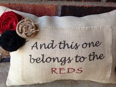 Cincinnati Reds Burlap/Red Chevron Pillow