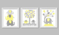 Elephant Nursery Decor, Grey and Yellow Nursery, Gender Neutral Room Decor, Baby Shower, Jungle, Zoo, Toddler Decor, Elephant Canvas Art: