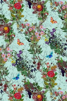 Bloomsbury Garden in Duck Egg - vines, flowers, butterflies, and fruit - wallpaper for the home / Timorous Beasties Wallcoverings