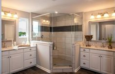 Master bathroom with white cabinets, his and her vanities and glass shower; The Ash Lawn floor plan, Drees Homes, Cleveland