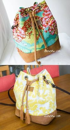 Natalie Bucket Bag PDF Pattern at Makerist Bag Pattern Free, Bag Patterns To Sew, Sewing Patterns, Fabric Purses, Fabric Bags, Bucket Bag, Leather Bag Pattern, Purses And Bags, Long Distance