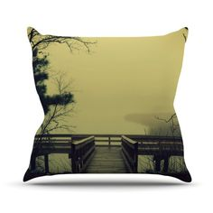 "Robin Dickinson ""Fog on the River"" Throw Pillow"