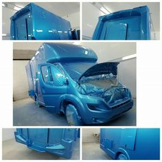 Some stunning metallic blue paintwork from our paint team. #KPHLTD #Horsehour #horseboxes #Horseboxesforsale