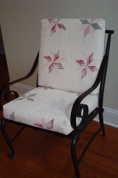 Quilt covered cushions for an iron chair--it's the most comfortable one in the house!