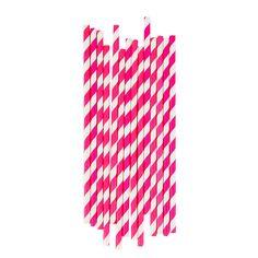 Paperipillit+25+kpl,+pinkit+raidat Pony Party, Party Set, Rose Fuchsia, Paper Straws, Bar, Bright Pink, Biodegradable Products, Pink White, Design