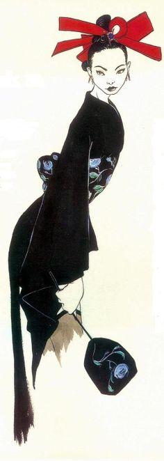 Kimono Galliano, storming Paris catwalks, looking Japanese, John Galliano F/W 1994 RTW. Illustration by Richard Gray.
