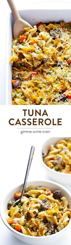 Lighter Tuna Casserole -- a modern twist on a retro classic, lightened up with…
