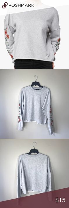 """Forever 21 Flower Embroidered Crew Neck Sweater Only worn once. Has some faint makeup spots near the collar and a couple of dark spots on the front.   20"""" length  22.5"""" pit to pit  No trades  Bundle all of your likes for a private discount #22 Forever 21 Sweaters Crew & Scoop Necks"""