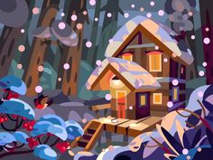 Cozy House designed by Igor Ianchenko. the global community for designers and creative professionals. Flat Design Illustration, House Illustration, People Illustration, Landscape Illustration, Illustration Sketches, Graphic Illustration, Graphic Art, Amy, Kids Background