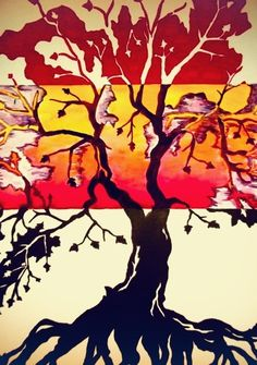 Abstract tree, triptych