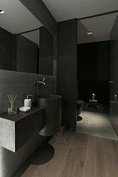 Interior, Black Bathroom Design Ideas Stainless Faucet Wooden Flooring Mirror Small Bathroom Design Bathroom Design Gallery Bathroom Home De. Contemporary Bathrooms, Modern Bathroom Design, Bathroom Interior Design, Modern Interior, Bathroom Designs, Dark Bathrooms, Beautiful Bathrooms, Small Bathroom, Attic Bathroom