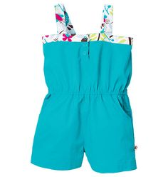 Play in style with this adorable summer romper. Best way to get them dressed and ready in one fell swoop. Cotton and polyester. Machine wash. Imported.
