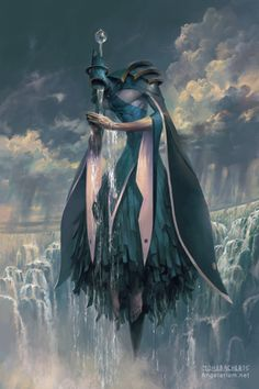 Matariel, Angel of Rain - Art by Peter Mohrbacher - Angelarium