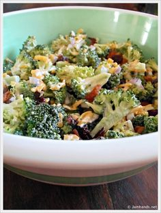 The Best Broccoli Salad  2 heads fresh broccoli (not frozen)  1/2 cup red onion, chopped  1/2 pound bacon  1 1/2 cups grated cheddar cheese (Don't buy the pre-grated stuff for this; buy a block and grate it yourself. The texture is much better.)  1/2 to 3/4 cup of dried cranberries (However much you want, you can sub raisins as well)  2 1/2 tablespoons vinegar  1 cup mayonnaise  1/3 cup sugar