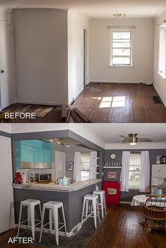 Kitchen Before And After Retro, Coca Cola Bar Turquoise Refrigerator White  Stools