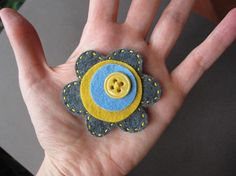 Mod Little Yellow Button Posey felt pin by soleilgirl on Etsy