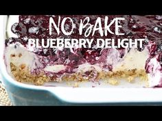 Whip up a dreamy blueberry delight. Easy recipe for a no bake blueberry dessert, made with Dream Whip, cream cheese, pie filling, and a pecan crust. Easy Blueberry Desserts, Blueberry Yum Yum, Blueberry Recipes, Easy Desserts, Delicious Desserts, Blueberry Delight, Blueberry Cream Pies, Blueberry Picking, Strawberry Delight